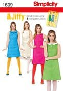 1609 Simplicity Pattern: Misses' Jiffy 1960's Vintage Dress