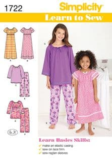 1722 Simplicity Pattern: Learn to Sew Child's and Girl's Loungewear