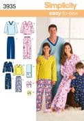 3935 Simplicity Pattern: Child's, Teens' and Adults' Sleepwear