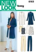 6163 New Look Pattern: Misses' Separates - Skirt, Trousers, Sleeveless Top and Long Jacket