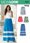 6287 New Look Pattern: Misses' Pull on Skirt in Four Lengths