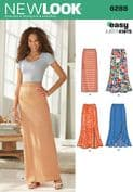 6288 New Look Pattern: Misses' Pull on Knit Skirts