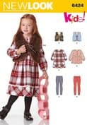 6424 New Look Pattern: Child's Dress, Top, Vest and Knit Leggings