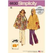 6630 Simplicity Pattern: Misses' Vintage Cape and Poncho