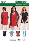 8052 Simplicity Pattern: Misses' Tops