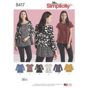 8417  Simplicity Pattern: Misses' Pullover Tops