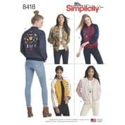 8418 Simplicity Pattern: Misses' Lined Bomber Jacket