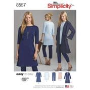 8557 Simplicity Pattern: Misses' & Misses' Petite Cropped Trousers, Dress, Tunic, Duster