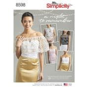 8598 Simplicity Pattern: Misses' & Plus Size Special Occasion Tops