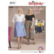 8612 Simplicity Pattern: Misses' Plus Size Flared Wrap Skirt