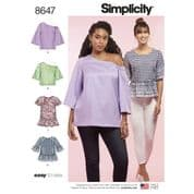 8647 Simplicity Pattern: Misses' Tops