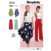 8649 Simplicity Pattern: Misses' Knit Skirts, Trousers and Shorts
