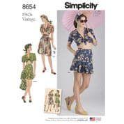 8654 Simplicity Pattern: Misses' Vintage Skirt, Shorts and Tie Front Top