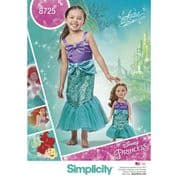 """8725 Simplicity Pattern: Child's and 18"""" Doll Costumes - Disney Princess"""