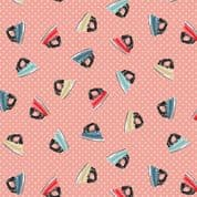 A Stitch in Time by Makower UK - 6441 - Scattered Irons on Dusky Pink - 2137_P - Cotton Fabric