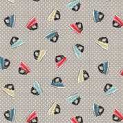 A Stitch in Time by Makower UK - 6442 - Scattered Irons on Grey - 2137_S - Cotton Fabric