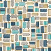 A Stitch in Time by Makower UK - 6445 - Spools of Thread, Blue on Cream - 2139_B - Cotton Fabric