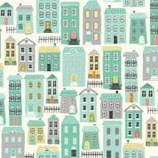 A Walk in The Park by Makower UK - 6461 - Houses on Cream - 2145_Q - Cotton Fabric