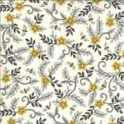 Bee Grateful - 7435 - 19964.11 Deb Strain - Small Floral and Bees on Parchment Cotton Fabric