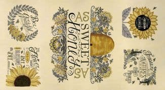 Bee Grateful - 7447 - 19960.11 Deb Strain - Bee Panel on Parchment Cotton Fabric