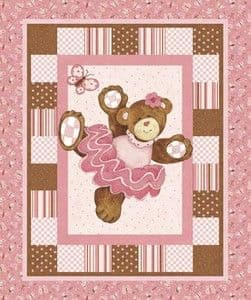 Belinda Bear Cot Panel or Nursery Wall Hanging - Cotton Fabric