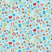 Beside the Sea 7501 - Makower 2339.B -  Seaside Scattered Motif on Bright Blue Cotton Fabric