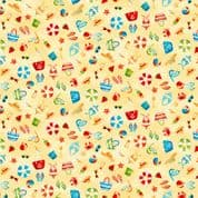 Beside the Sea 7502 - Makower 2339.Y -  Seaside Scattered Motif on Yellow Cotton Fabric