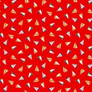 Beside the Sea 7508 - Makower 2343.R -  Small Sailboats on Red Cotton Fabric