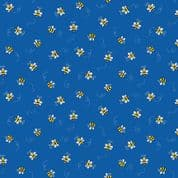 Bumble Bees 7448 - Makower 9715.B - Bumble Bees  on Blue Cotton Fabric