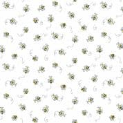 Bumble Bees 7452 - Makower 9715.L - Bumble Bees  on White Cotton Fabric