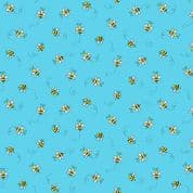 Bumble Bees 7454 - Makower 9715.T - Bumble Bees  on Turquoise Blue Cotton Fabric