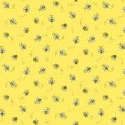 Bumble Bees 7455 - Makower 9715.Y - Bumble Bees  on Yellow Cotton Fabric