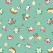 Bunny Hop - 7524 - Lewis & Irene A528.3 -  Chicks on Green Cotton Fabric