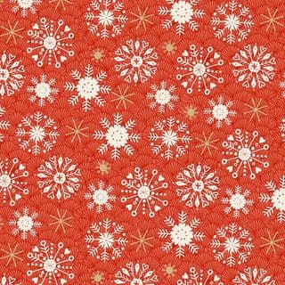 CW-X015 - Snowflakes on Red - Makower 2115R -  Cotton Fabric