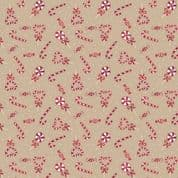 CW-X025 - Christmas Candy Canes on Beige - Lewis and Irene -  Cotton Fabric