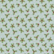 CW-X026 - Holly Leaves on Light Blue - Lewis and Irene -  Cotton Fabric