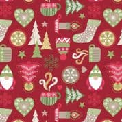 CW-X030 - Christmas Cheer on Red Background - Lewis and Irene -  Cotton Fabric