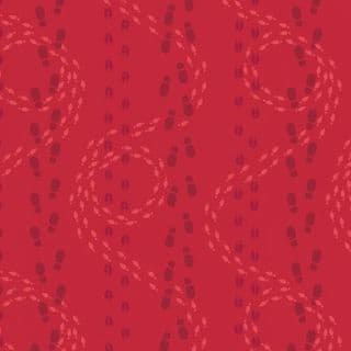 CW-X033 - Santa & Reindeer Footprints on Red - Lewis and Irene -  Cotton Fabric