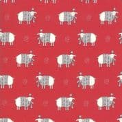 CW-X035 - Country Christmas Sheep on Red Background - Moda 2962.12 -  Cotton Fabric