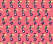 Fabric Freedom Camping - 4255 - Modern Floral Print, Plum on Bright Pink - FF94-2 - Cotton Fabric