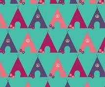 Fabric Freedom Camping - 4258 - Tents in a Row, Plum, Red, Pink - FF95-2 - Cotton Fabric