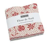 "Fleur de Noel by French General for Moda Fabrics - 42 x 2.5"" fabric squares"