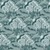 Into The Woods by Makower UK - 5824 - Trees and Deer in Teal - 1849_B - Cotton Fabric