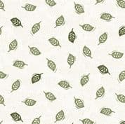 Into The Woods by Makower UK - 5828 - Green Leaves on Cream - 1851_G - Cotton Fabric