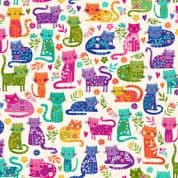 Katie's Cats 7474 - Makower 2348.Q -  Cats on Off White Cotton Fabric
