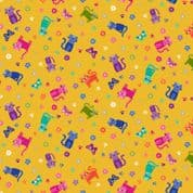 Katie's Cats 7478 - Makower 2349.Y -  Small Cats on Yellow Cotton Fabric