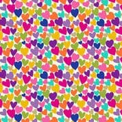 Katie's Cats 7479 - Makower 2350.Q -  Multi Coloured Hearts on Off White Cotton Fabric