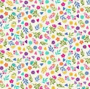 Katie's Cats 7481 - Makower 2351.Q -  Multi Coloured Ditzy Floral on Off White Cotton Fabric