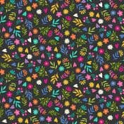Katie's Cats 7482 - Makower 2351.S -  Multi Coloured Ditzy Floral on Black Cotton Fabric