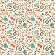 Lewis & Irene Cheiveley - 5626  - Teal & Copper Floral on Cream (Metallic) - A241.1 - Cotton Fabric